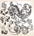 vintage styled hand drawn flourishes vector image vector image