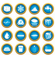 water icons blue circle set vector image vector image