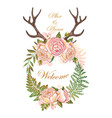 wedding wreath magic floral and animal elements vector image