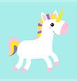 white unicorn icon horse jumping cute cartoon vector image
