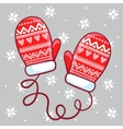 winter mittens in childrens vector image