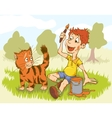 Artist Boy Painting On Red Cat Creative People vector image