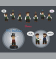 businessman character set with some icons and vector image