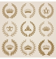 Luxury gold labels with laurel wreath vector image