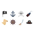 pirate sea robber icons in set collection for vector image