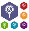 No pedestrian sign icons set vector image