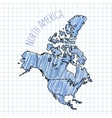 Blue pen hand drawn North America map on vector image