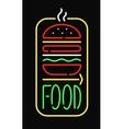 Fast food neon sign light restaurant cafe black vector image