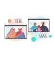 arab grandparents having virtual meeting vector image vector image