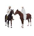 arab man and woman on horseback vector image vector image