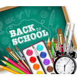 back to school card with drawing tools pencils vector image vector image