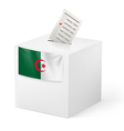 Ballot box with voting paper Algeria vector image