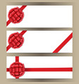 banner template set with red bow and ribbon vector image
