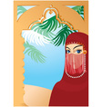 Beautiful arabian woman vector image