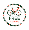 bicycle free parking plate vector image vector image