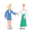 business woman and man shaking hands in flat style vector image vector image