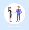 businesspeople couple shaking hands business man vector image