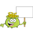 Cartoon pot of gold holding a sign vector image