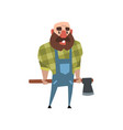 cheerful lumberjack holding ax behind his back vector image vector image