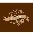 Coffee emblem in brown and white vector image