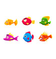 colorful little glossy fishes set funny big eyed vector image vector image