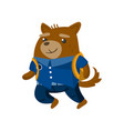 cute funny dog student pupil animal in a blue vector image vector image