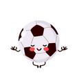 cute happy football ball meditate vector image vector image