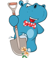 Cute Hippo Gardener Cartoon vector image
