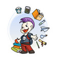 cute school kid ready to education vector image