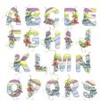 Cute spring alphabet vector image vector image