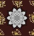 damask golden floral pattern on a brown white vector image