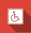 disabled handicap icon with long shadow vector image vector image