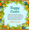 easter card with floral wreath eggs and flowers vector image