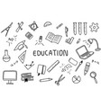 education doodle art with text banner on the vector image vector image