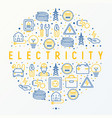 electricity concept in circle with thin line icons vector image vector image