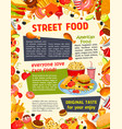 fast food poster with burger drink and dessert vector image vector image