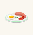 fried egg sausage and slice of tomato on plate vector image