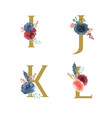 gold alphabet florals setcollection blue-red rose vector image