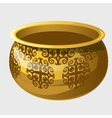 Golden pot with pattern in ancient style vector image vector image