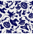Halloween seamless blue pattern vector image