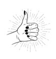 hand drawn female hand in like gesture vector image