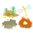 Hole pit nest and dragonfly vector image vector image