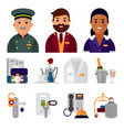 hotel workers personal professional service man vector image vector image