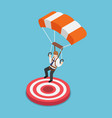 isometric businessman with parachute landing on vector image vector image