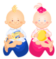little baby boy and girl vector image vector image