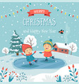 merry christmas greeting card with children ice vector image vector image