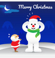 merry christmas - snowman wearing hat of santa vector image vector image