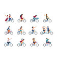 people on bike diverse people characters riding vector image
