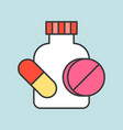 pill with bottle dental related icon filled vector image vector image