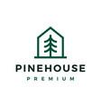 pine tree house monoline line logo icon vector image